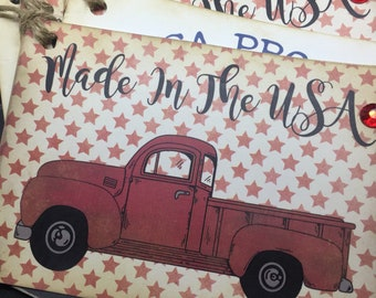 USA Proud Tags Made in the USA Tags Vintage Truck Patriotic Gift Tags Red White and Blue Tags American Flag Gift Tags Stars and Stripes Tags