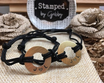 Couples, Matching Stamped Bracelets, 2 Bracelets, Gold Aluminum Disc with Stamped Initials adjustable nylon cord, his and hers, Initials