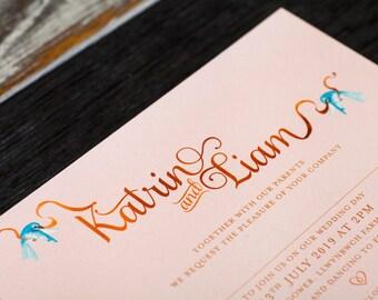 Fairytale Wedding Invitation   Rose Gold and blush invitation, for a fairy tale disney princess wedding, subtle disney wedding stationery