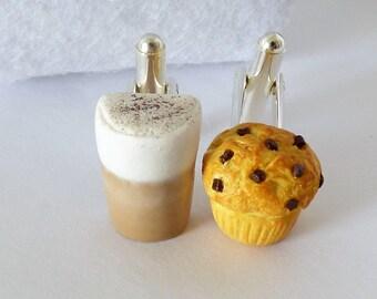 Latte and Muffin Cufflinks - Caffe Latte and Chocolate Chip Muffin - Miniature Food Art Jewelry - Schickie Mickie Original 100% handmade