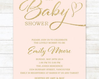 Pink Gold Baby Shower Invitation Printable, Baby Shower Invitation Girl, Gold Glitter Baby Shower Invitation, Blush Gold Baby Shower Invite