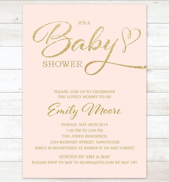Rosa Gold Baby-Dusche Einladung druckbare Baby-Dusche