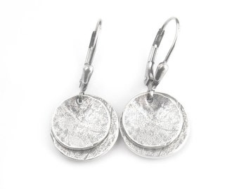 Disc Earrings - Oxidized Silver Earrings - Rustic Silver Earrings - Double Dish Dangles - Artisan Earrings (ES-WDCV2-LV)