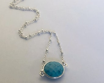 HRM Spring 2018 Journey petite 12mm Turquoise Bezel Necklace with sterling silver satellite chain