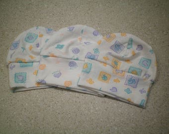 Butterflies, Hearts and Flowers Baby Hats - Set of 3