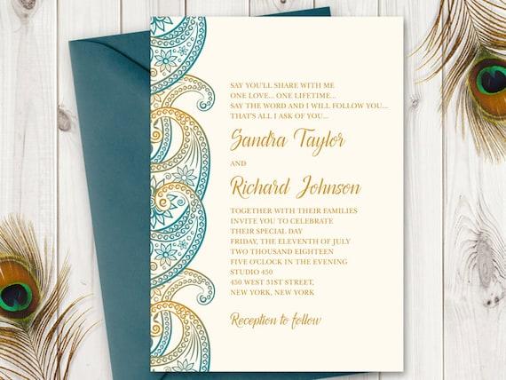 Wedding Invitation Cards Templates Free Download: Wedding Invitation Template Paisley In Teal And