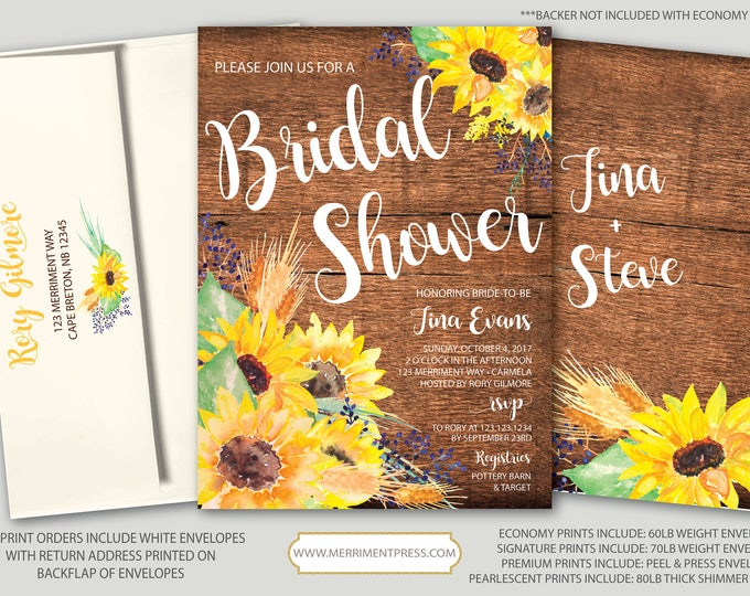 Rustic Sunflower Bridal Shower Invitation // Little Sunflower // Fall Bridal Shower Invitation // Yellow // Wood // CARMEL COLLECTION