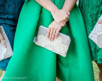 Bridesmaid Clutch Set - Linen Burlap Clutch Vintage Doily