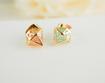 tiny diamond shape earrings in mint green/coral pink