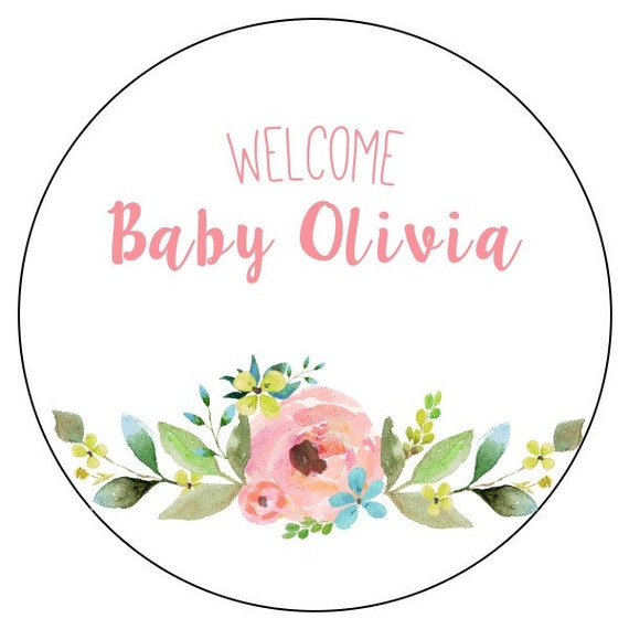 Flower Baby Shower Stickers Watercolor Floral Baby Shower