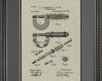 Starrett Micrometer Patent Artwork Engineer Machinist Manufacturer Gift S1536