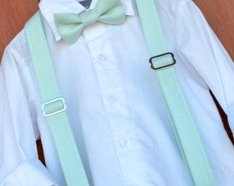 David's Bridal Mint Bowtie & Suspenders, Little Boy Mint Bowtie and Suspenders, David's Bridal Mint ringbear outfit, Mint bow tie braces