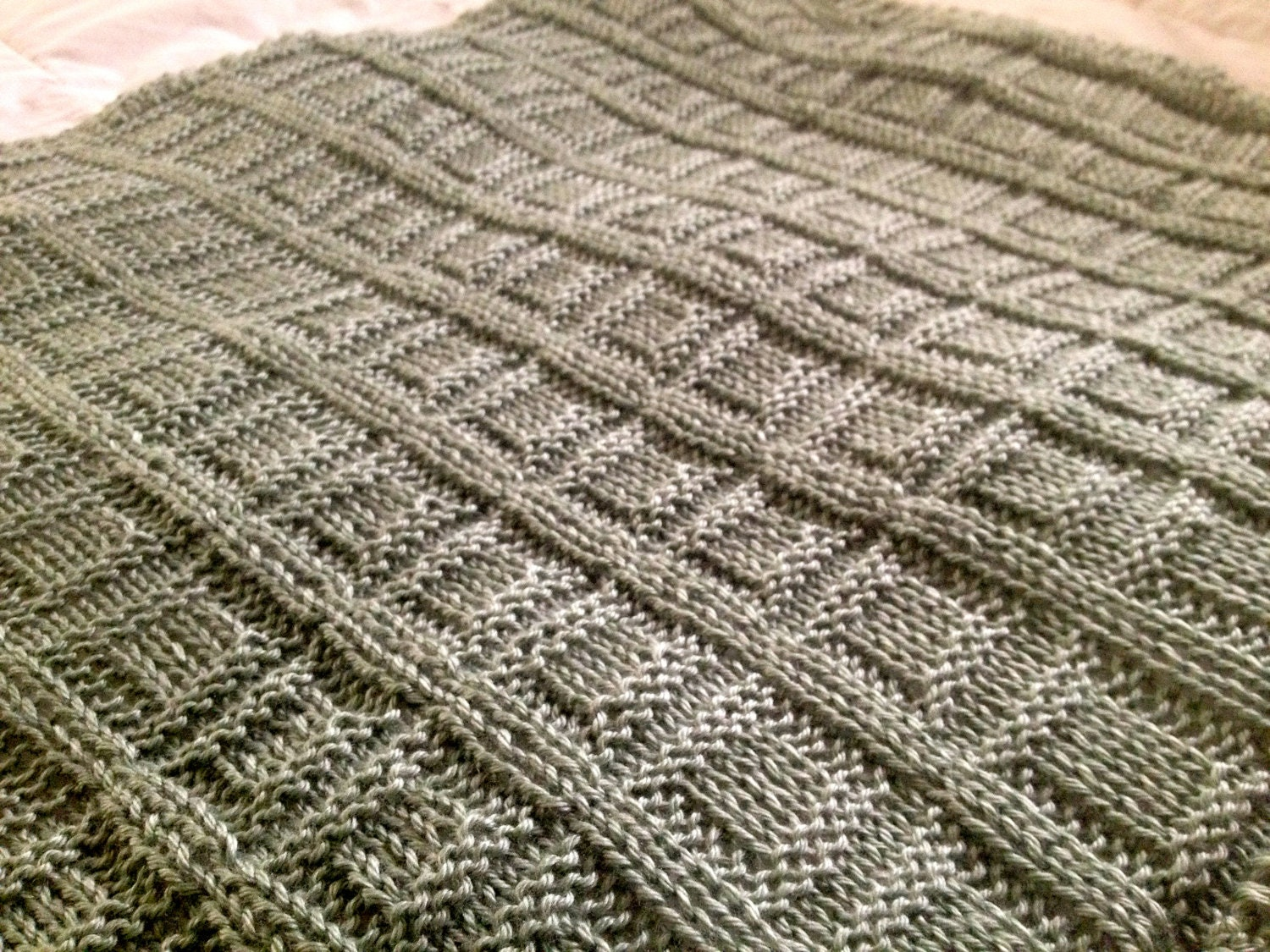 Hand Knit Baby Blanket Square in a Square pattern with