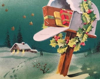 Vintage Christmas Card, for Dad, Mailbox, NOS, MidCentury