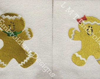 Gingerbread Boy and Girl - Machine Embroidery Designs