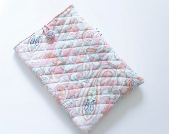 Padded Tablet cover 10 inches, Oriental-inspired printed cotton outside, solid orange cotton Interior