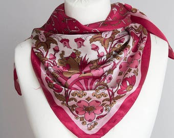 """vintage Square scarf, floral scarf, polyester scarf, fabric women scarf shawl 82cm / 32"""" satin red pink"""