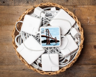 iPhone and Apple Laptop Charger Sticker - Golden Gate Bridge - Tech accessory gift of the Golden Gate Bridge in San Francisco Bay Area
