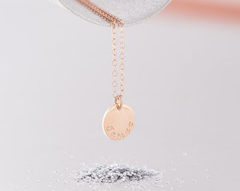 Solid 9ct Rose Gold Necklace / Mother's Name Necklace / Single Disc Name Necklace / Hand Stamped / Solid Rose Gold / Children's Names