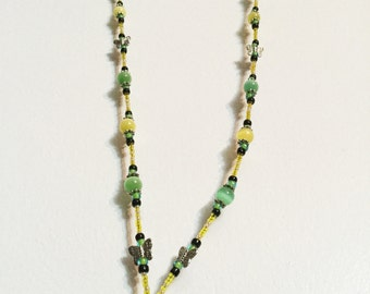 Lemon/Lime Butterfly Handmade Beaded Lanyard, Name Badge, ID Holder, Magnetic Clasp