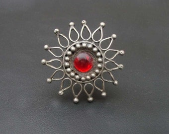Amazing Red Glass Tribal Gypsy Vintage Look Ethnic Old Silver Statement Rings
