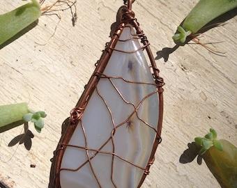 Dendritic agate copper wire wrapped pendant