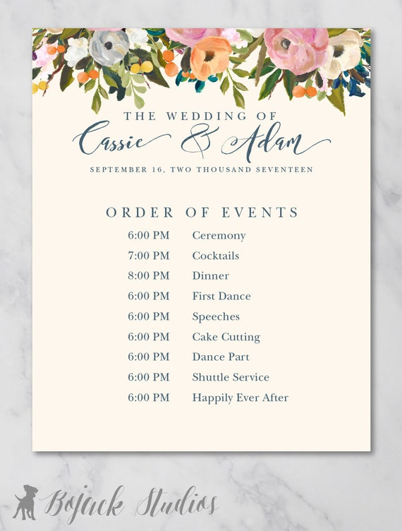 Top Result Wedding Day Schedule Of Events Template Luxury Reception ...
