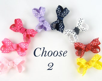 2 Pack Polka Dot Baby Hair Bows - Mini Snap Clips - Newborn Toddler Size with Non Slip Grip - Alligator Clip Option