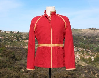 Red Rain Coat  (UK Henry Cottons / Vintage / 80s)