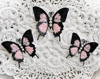 Reneabouquets Butterfly Set - Pink Glitter Glass Butterflies You Choose Pearl Or Crystal Body Accent