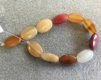 Flower Jade Oval beads Wonderful Quality & Colors 13x18mm 11pcs