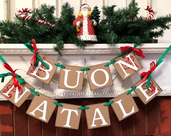 Buon Natale Banner- Red and Green Italian Christmas Banner  -rustic Vintage Inspired Italian Christmas Decorations- Christmas Banner