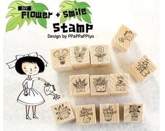 Cute DIY Crafts Wooden Rubber Stamp Set - Flowers + Smile Design 12 Pcs/Set