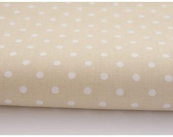 100% cotton fabric piece 160 x 50 cm, textile printing, 100% 4mm on a beige background dots cotton