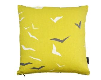 Scion Flight Seaside birds fabric Cushion Cover-  Yellow/Grey