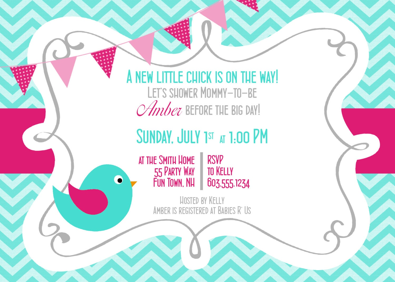 Bird Baby Shower Invitation Girl Invitation Bird Baby Shower