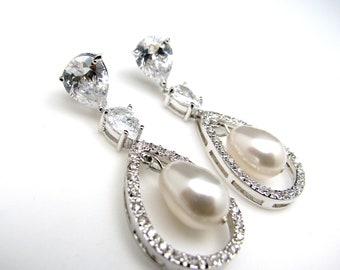 Jewelry bridesmaid gift prom party  bridal wedding earrings swarovski teardrop white or cream ivory pearl cubic zirconia deco teardrop post