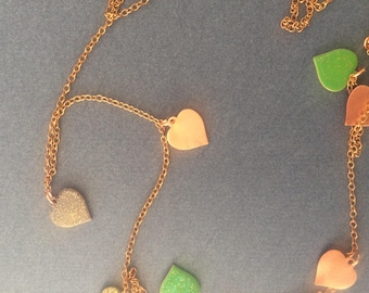 Jolicoeurs necklace, brass, copper charms 1 mm enameled, free shipping
