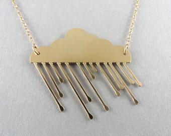 rain cloud necklace cloud necklace cloud jewelry raindrop rain necklace gold cloud