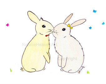 Easter Bunny, Print Spring, Gifts Girlfriend, Anniversary Gift, Picture Rabbits, Art Woodland, Animals Kissing, Boyfriend Gift, Couples Gift