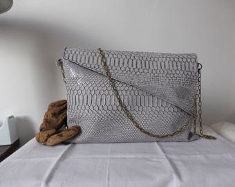 Faux reptile imitation leather envelope clutch