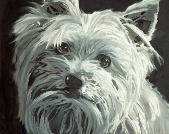Custom Pet Portrait from Photo on Canvas, Yorkie Portrait , Portraits by NC
