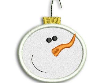 Snowman Ornament Applique Machine Embroidery Design