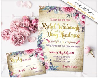 Bohemian Floral Wedding Invitation Watercolor Floral Invite Boho Chic Wedding Rustic Wedding Invite Vintage Paper Pink Flower with greenery