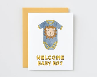 Welcome Baby Boy. Lion Baby Body Suit New Baby Card.