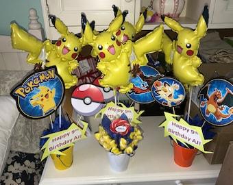 6 Custom Pokemon Centerpieces with Pikachu Balloons