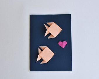 Greeting card for teachers student school theme card for valentine day card fish origami greeting card coral fish with dark blue background summer feel and ocean lovers origami greeting cards m4hsunfo