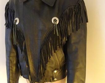 BEAUTIFUL 1980's Vintage Black Fringed Leather Motorbike Jacket - Chest