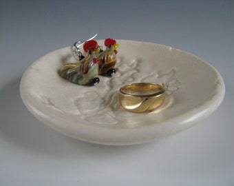 Ceramic Ring Catcher Ring Dish Ring Holder White