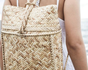 Exclusive hand woven Rattan Backpack, boho beach bag, shoulder bag.